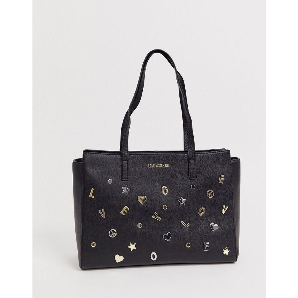 モスキーノ Love Moschino レディース トートバッグ バッグチャーム バッグ【charm stud faux leather tote bag】Black/gold