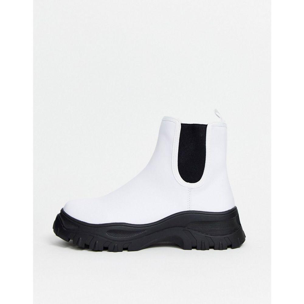 モンキー Monki レディース ブーツ チェルシーブーツ シューズ・靴【sporty Chelsea boots in white】White