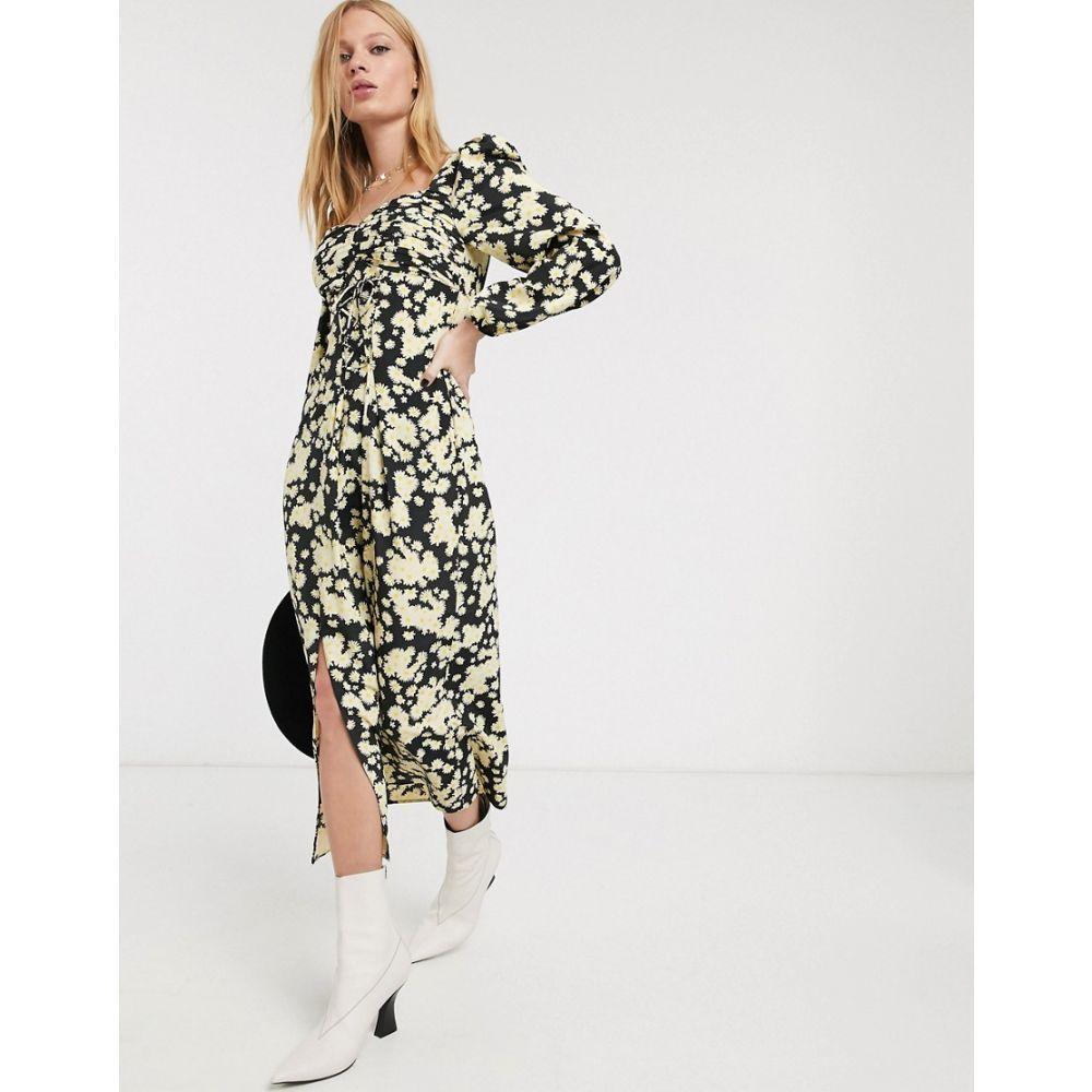 トップショップ Topshop レディース ワンピース ビスチェ レースアップ ワンピース・ドレス【lace up pleated bustier dress in multi】Multi