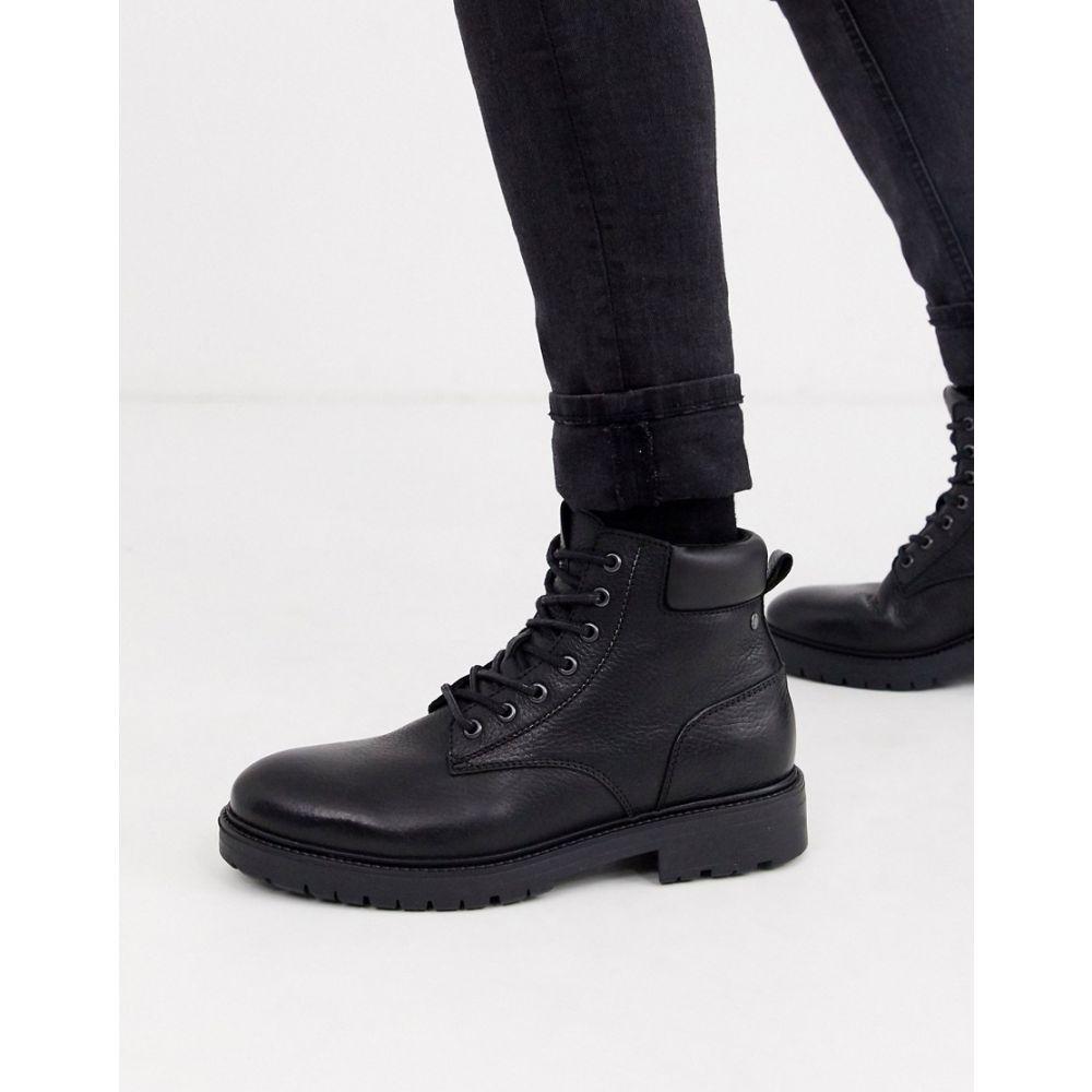 ジャック アンド ジョーンズ Jack & Jones メンズ ブーツ レースアップブーツ シューズ・靴【leather chunky sole lace up boots in black】Anthracite