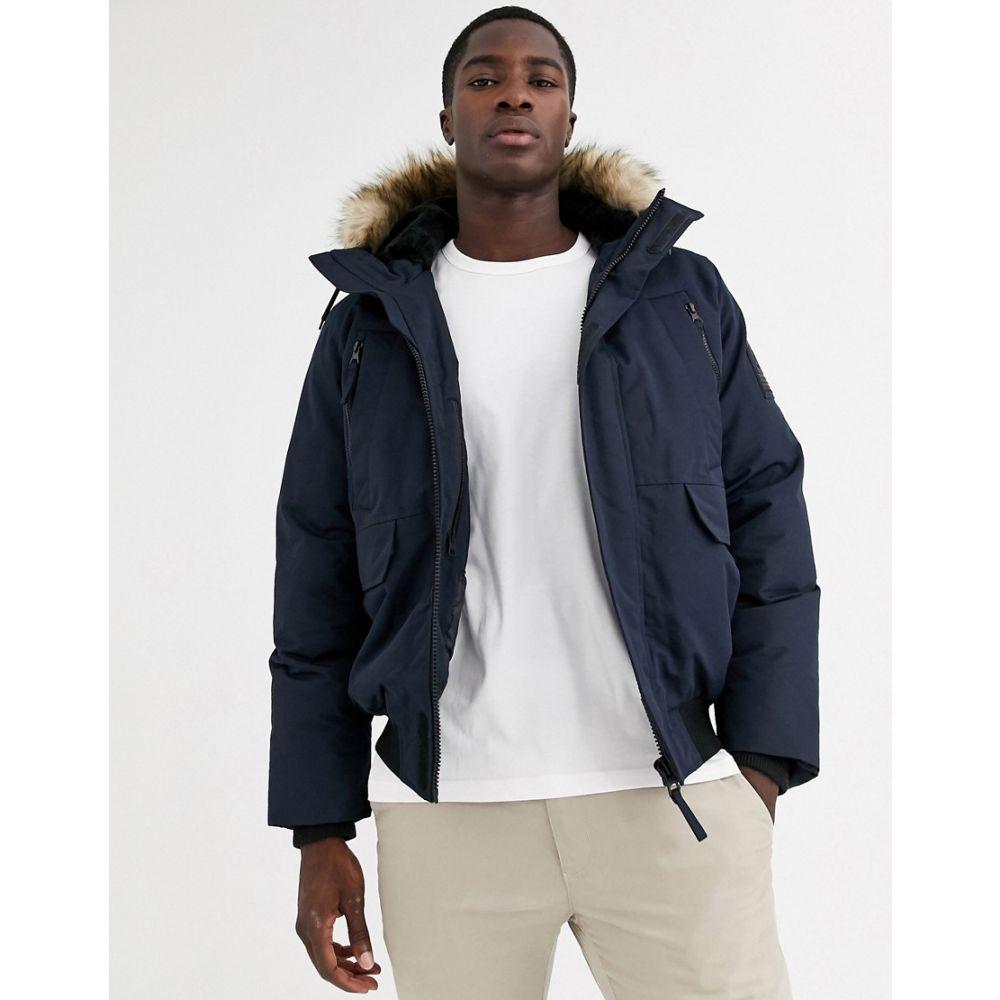 セリオ Celio メンズ コート アウター【parka jacket with faux fur hood in navy】Navy