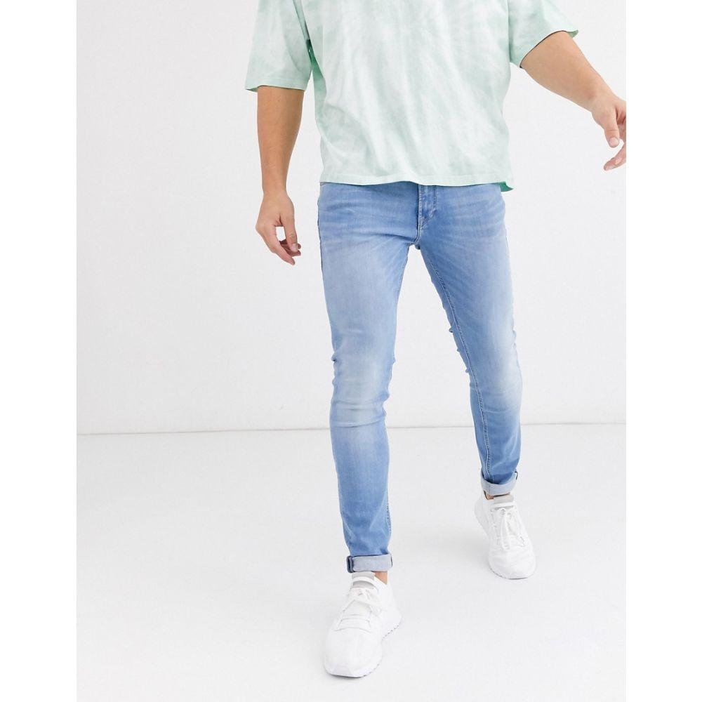 ジャック アンド ジョーンズ Jack & Jones メンズ ジーンズ・デニム ボトムス・パンツ【Intelligence skinny fit stretch jeans in light blue】Blue denim