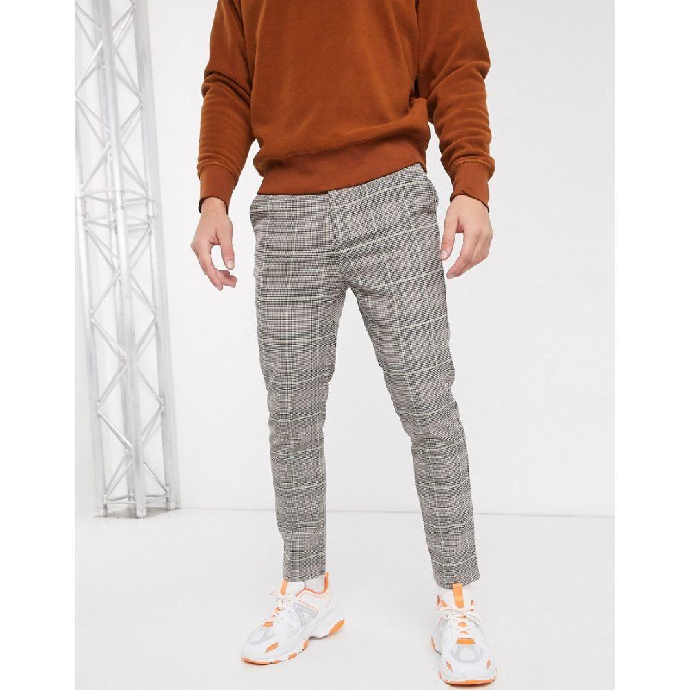 メンナス Mennace メンズ ボトムス・パンツ 【tapered trousers in check】Beige