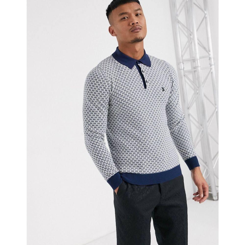 ロックストック Lockstock メンズ ポロシャツ トップス【hive long sleeve polo in waffle blue】Blue