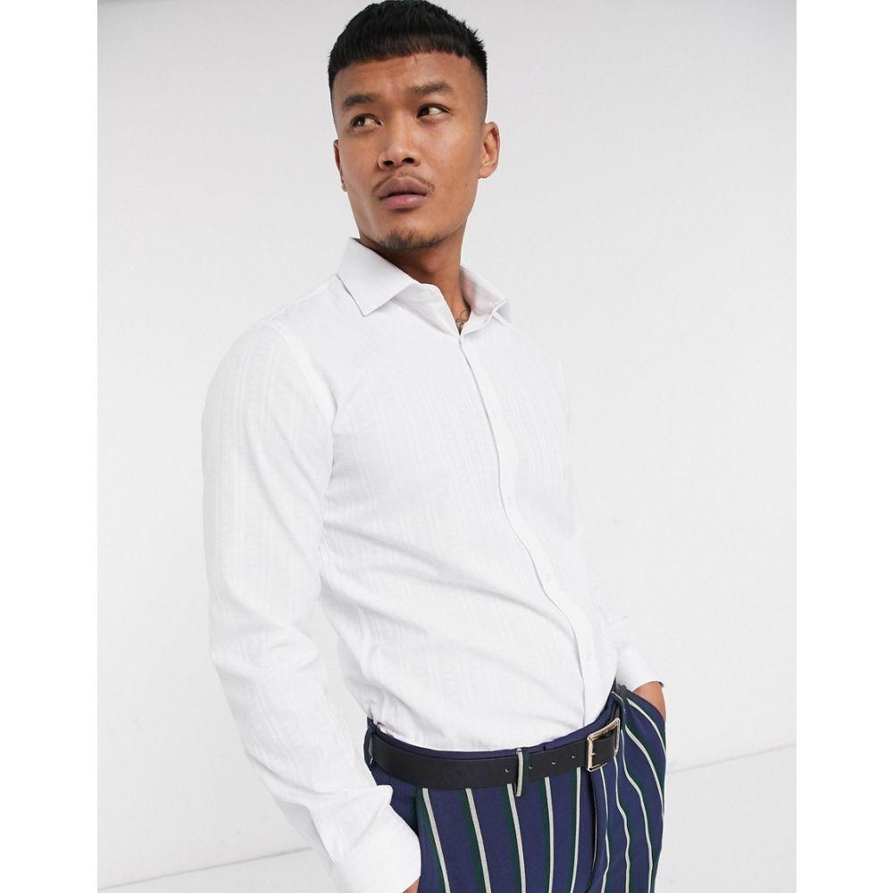 ロックストック Lockstock メンズ シャツ トップス【Kingsway jaquard shirt in white】White