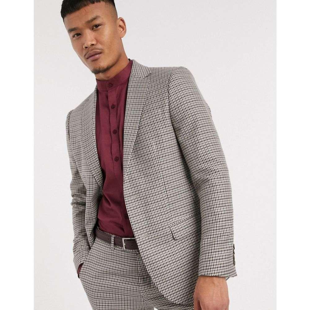 ロックストック Lockstock メンズ スーツ・ジャケット アウター【Ludlow suit jacket in micro brown check】Brown