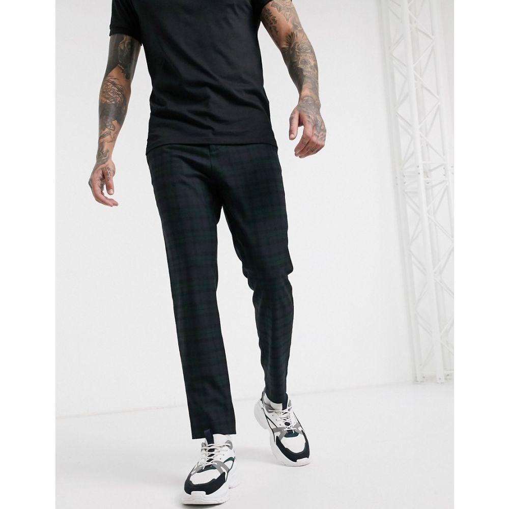 メンナス Mennace メンズ ボトムス・パンツ 【tapered trouser in navy blackwatch check】Navy