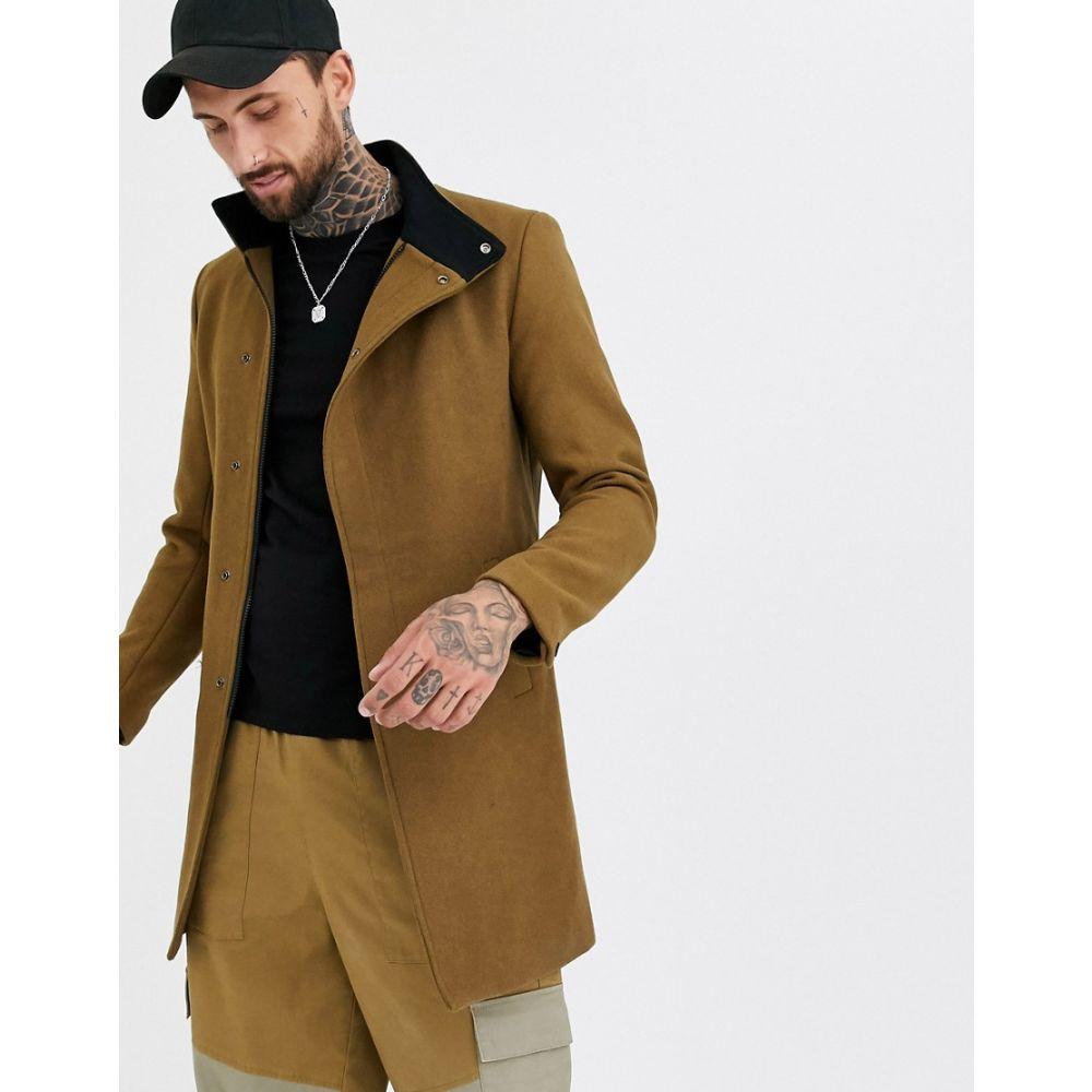 オンリーアンドサンズ Only & Sons メンズ コート アウター【stand up collar concealed closure overcoat in camel】Kangaroo