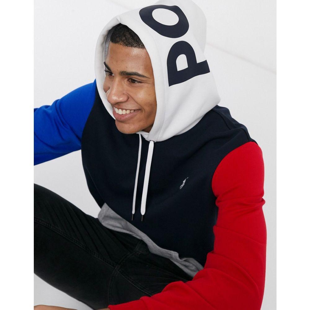 ラルフ ローレン Polo Ralph Lauren メンズ パーカー トップス【hoodie in navy colour block with hood logo】Aviator navy