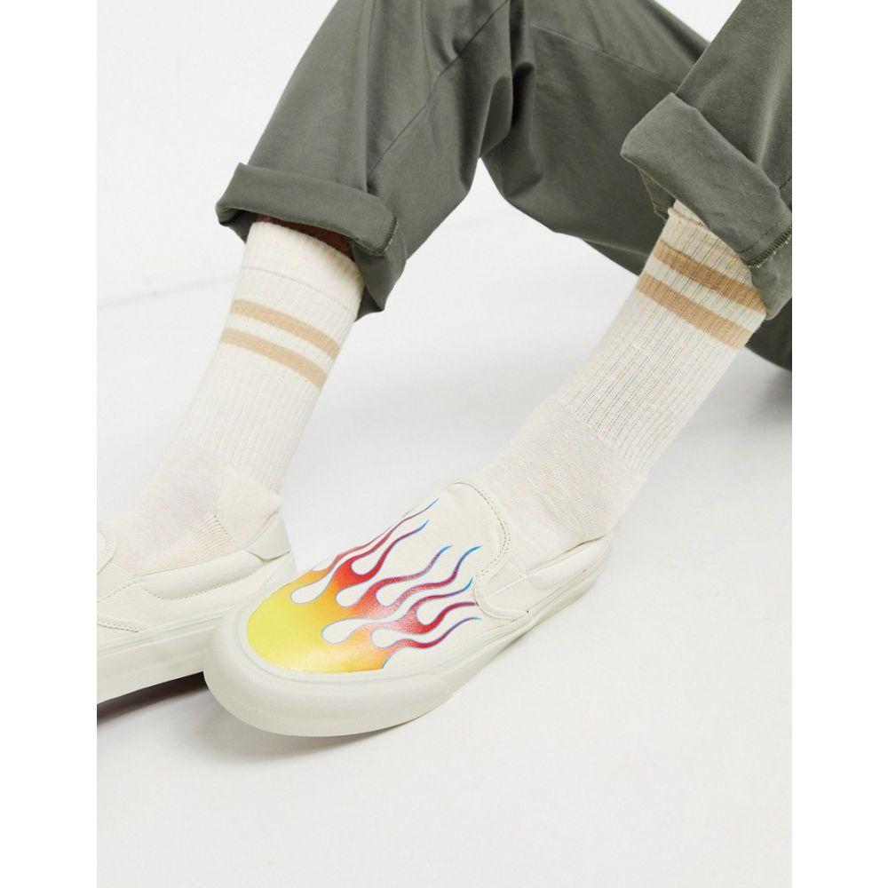 ストレイ STRAYE メンズ スリッポン・フラット シューズ・靴【Straye Ventura flames slip on shoe】Bone flames