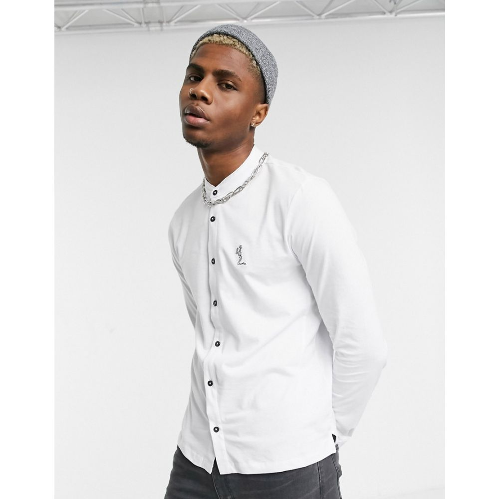 レリジョン Religion メンズ シャツ トップス【grandad collar shirt with praying skeleton in white】White