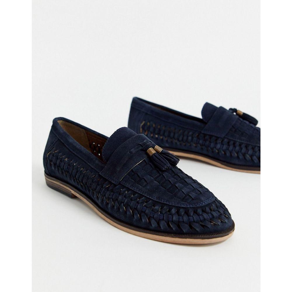 リバーアイランド River Island メンズ ローファー シューズ・靴【leather woven loafer in navy】Navy