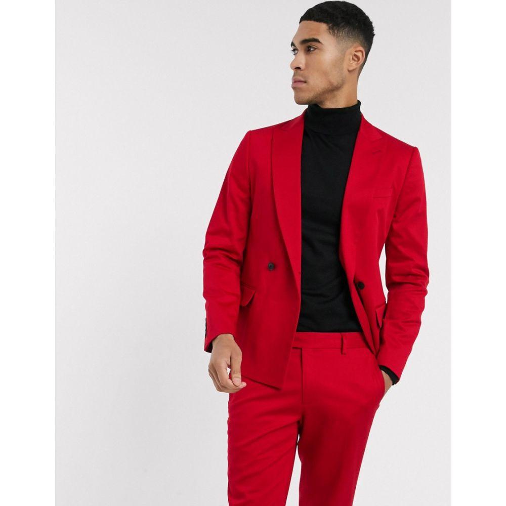 リバーアイランド River Island メンズ スーツ・ジャケット アウター【double breasted skinny fit suit jacket in red】Red