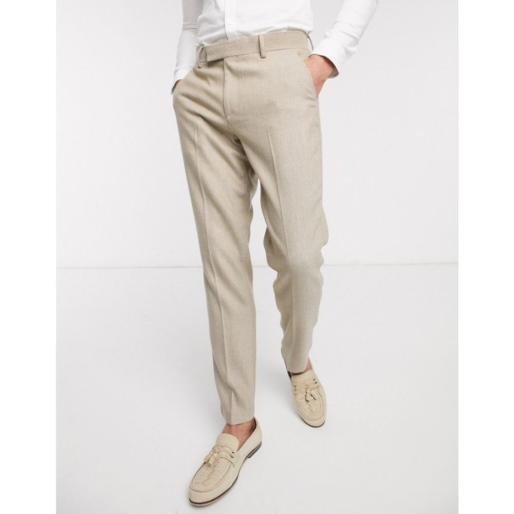 エイソス ASOS DESIGN メンズ スラックス ボトムス・パンツ【wedding slim suit trousers in wool mix herringbone in camel】Camel