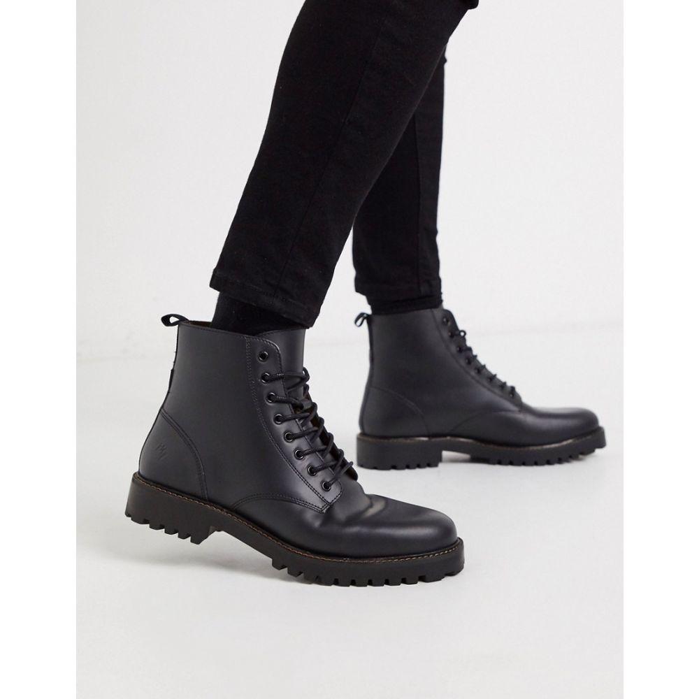 リバーアイランド River Island メンズ ブーツ レースアップブーツ シューズ・靴【leather lace up boot with chunky sole in black】Black