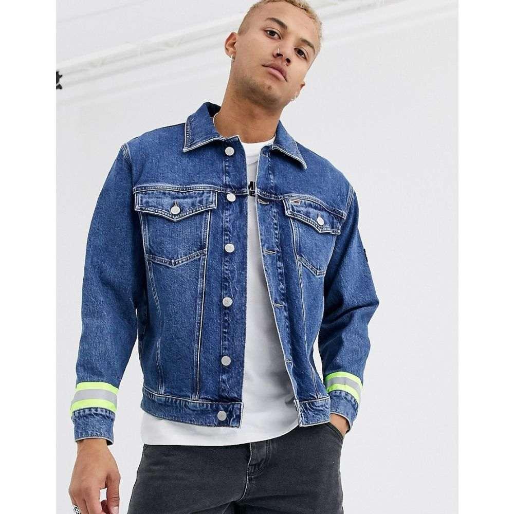 トミー ジーンズ Tommy Jeans メンズ ジャケット Gジャン アウター【oversized reflective stripe denim trucker jacket in mid wash】Kent mid bl