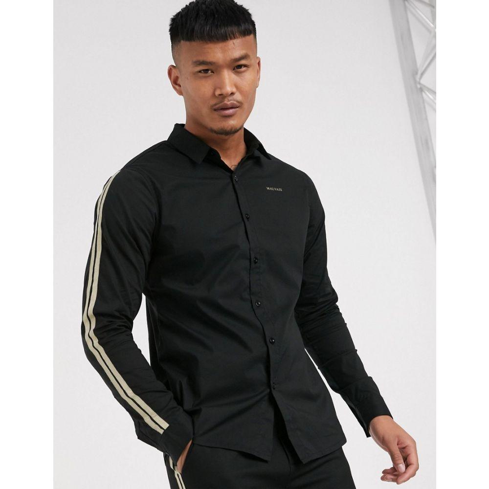 モーヴェ Mauvais メンズ シャツ トップス【oxford shirt with gold taping in black】Black