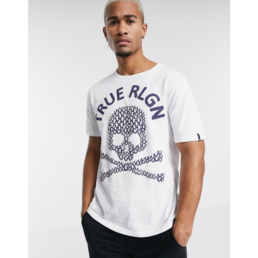 トゥルー レリジョン True Religion メンズ Tシャツ トップス【textured skull logo t-shirt in white】White