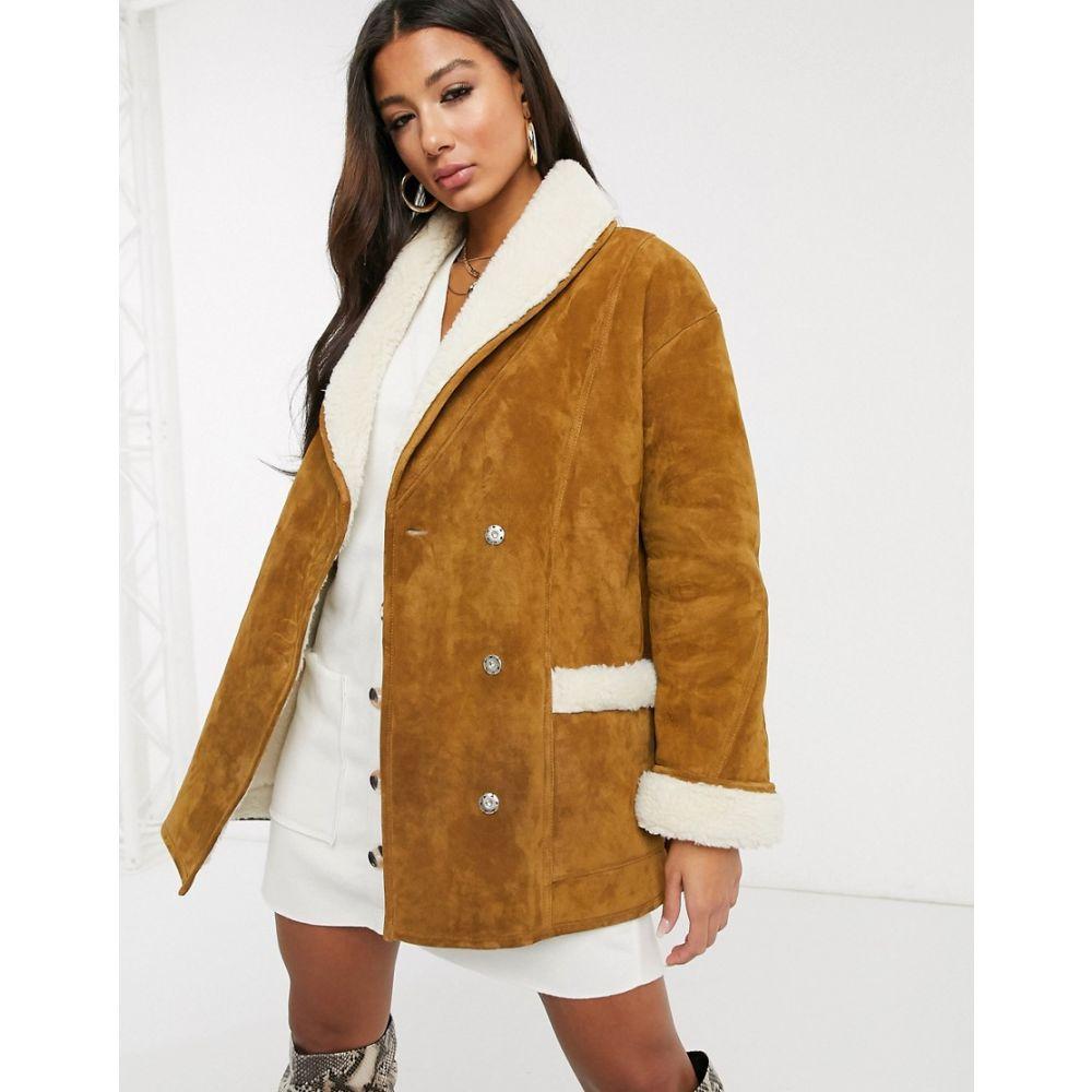 エイソス ASOS DESIGN レディース コート アウター【sheepskin coat in brown】Brown