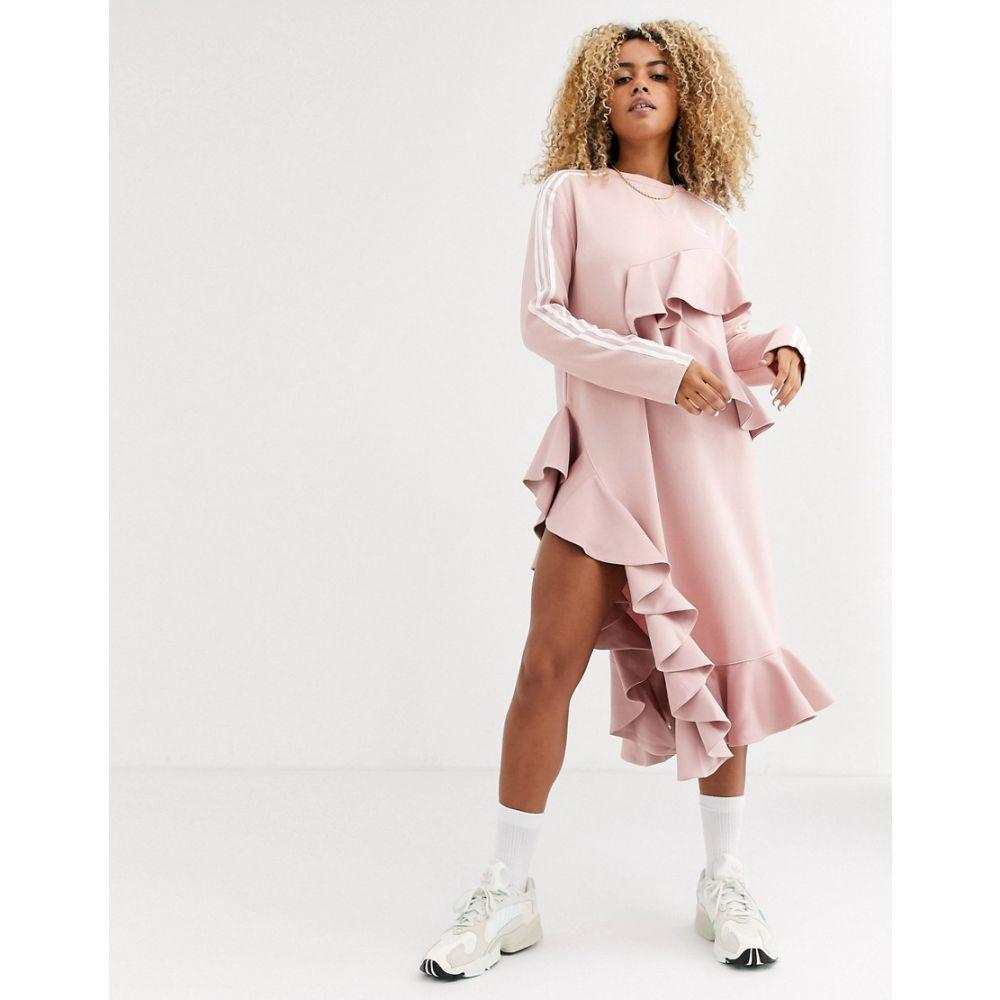 アディダス adidas Originals レディース ワンピース ワンピース・ドレス【x J KOO trefoil ruffle dress in pink】Pink