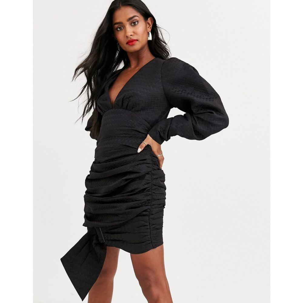 Atoir レディース ボディコンドレス ワンピース・ドレス【was loved wrapped bodycon dress with buckle】Embossed black