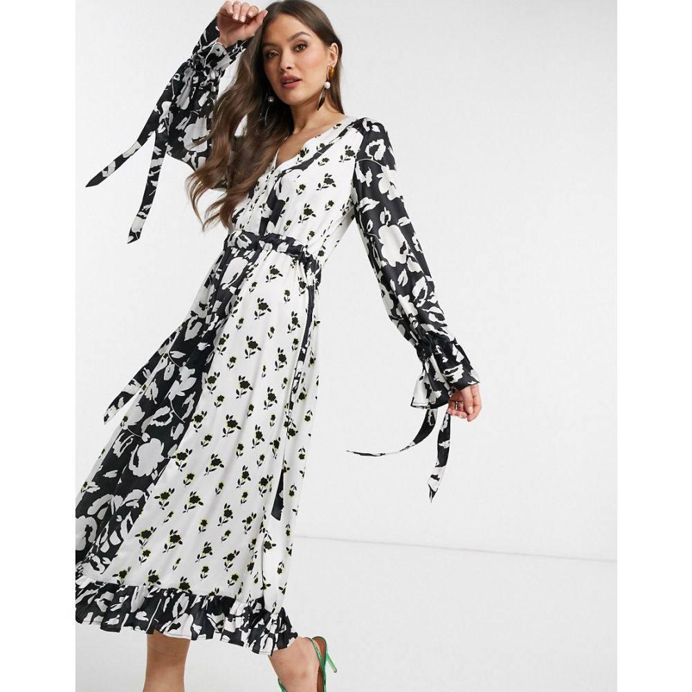 エイソス ASOS DESIGN レディース ワンピース ワンピース・ドレス【trapeze maxi dress in mixed floral print】Black/white floral