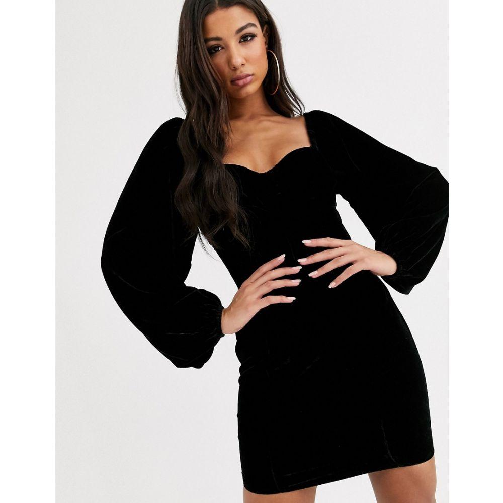 エイソス ASOS DESIGN レディース ワンピース ミニ丈 ワンピース・ドレス【velvet cupped sweetheart mini dress】Black