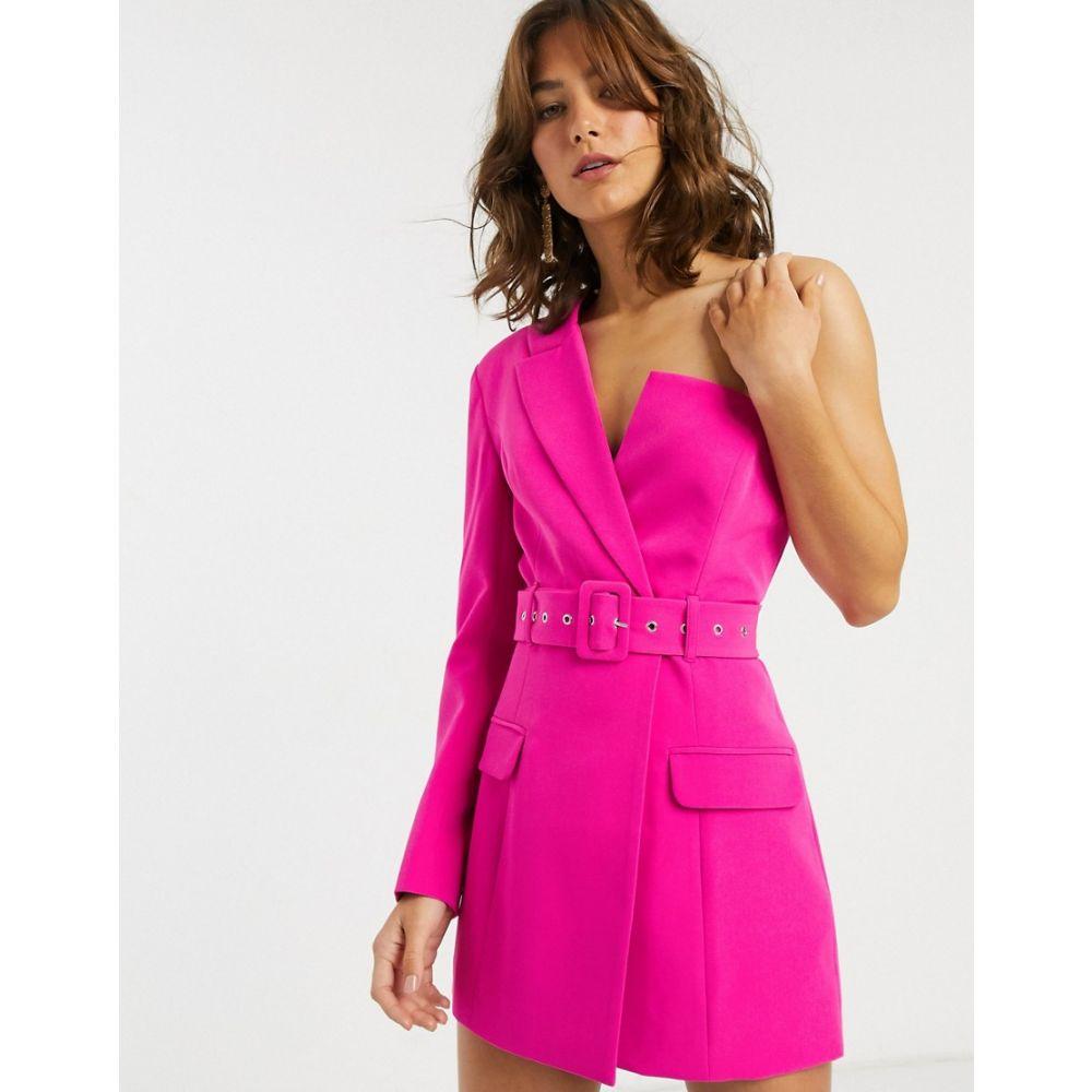 エイソス ASOS DESIGN レディース スーツ・ジャケット ロング アウター【asymmetric belted longline blazer】Pink