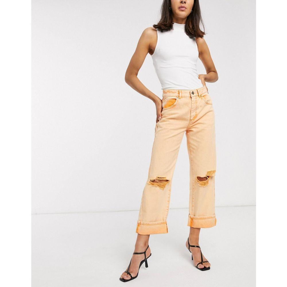 エイソス ASOS DESIGN レディース ジーンズ・デニム ボトムス・パンツ【low slung carpenter jeans with extreme rips in orange】Orange