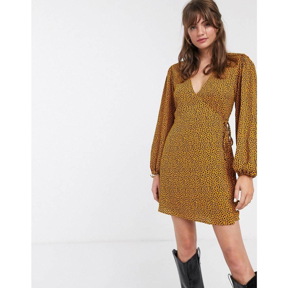 グラマラス Glamorous レディース ワンピース ラップドレス ワンピース・ドレス【volume sleeve wrap dress in dalmatian spot】Mustard dalmatian
