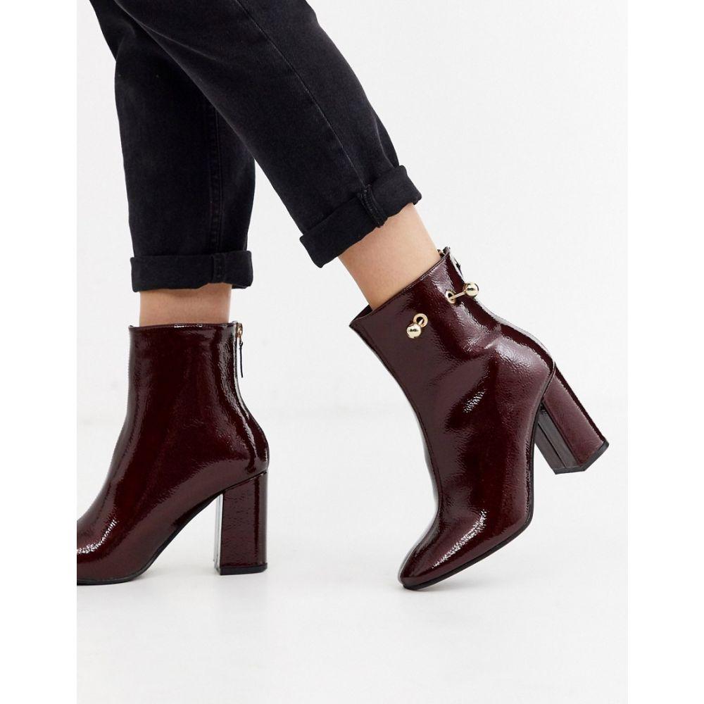 グラマラス Glamorous レディース ブーツ ショートブーツ シューズ・靴【patent ankle boots with piercing detail】Burgundy patent