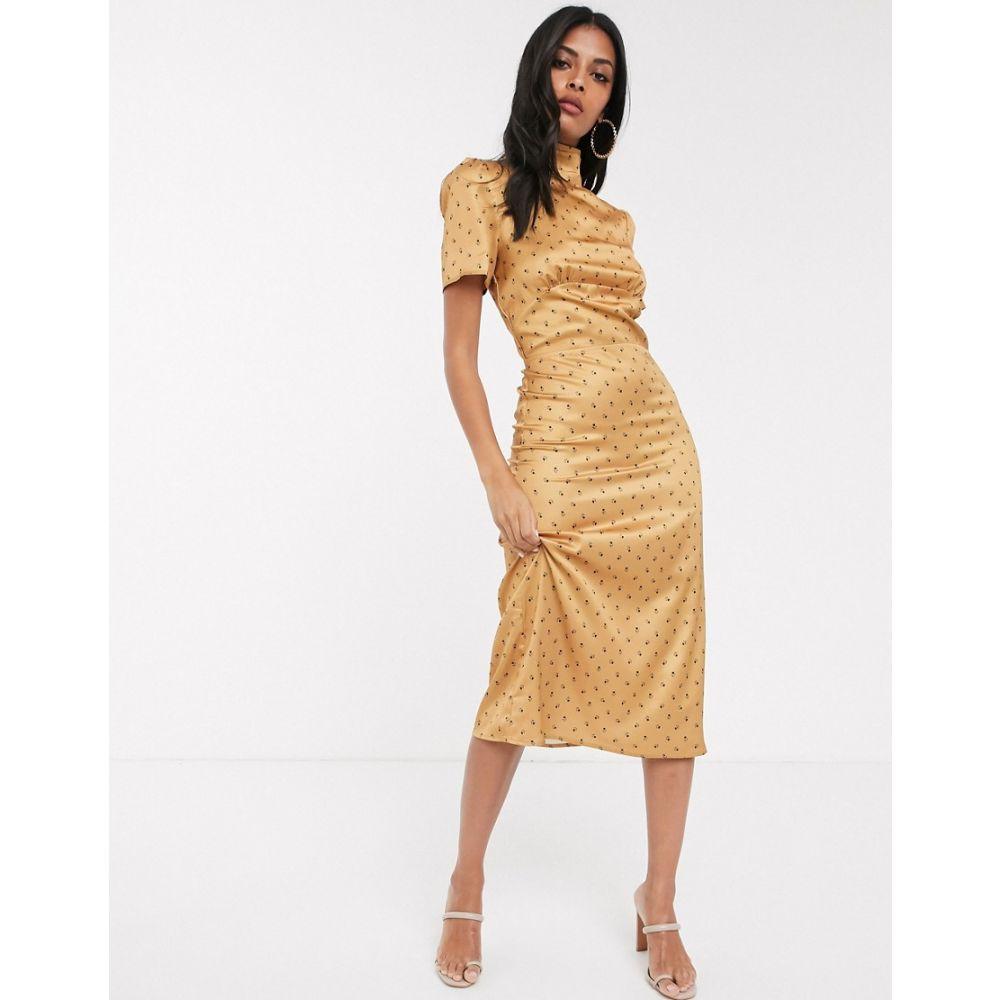 ファッションユニオン Fashion Union レディース ワンピース ワンピース・ドレス【high neck tea dress with balloon sleeve in yellow floral satin】Yellow floral