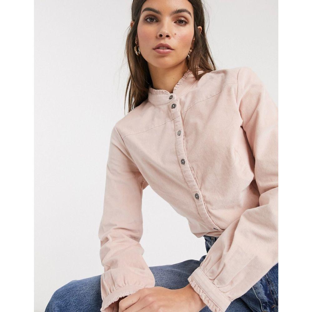エスプリ Esprit レディース ブラウス・シャツ トップス【cord high neck blouse in pink】Light pink