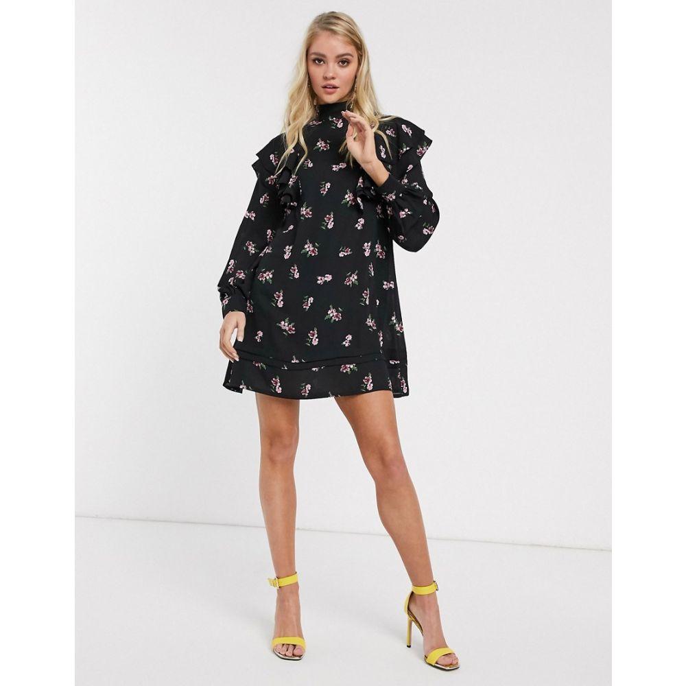 ファッションユニオン Fashion Union レディース ワンピース ミニ丈 ワンピース・ドレス【ruffle mini dress with high neck】Black