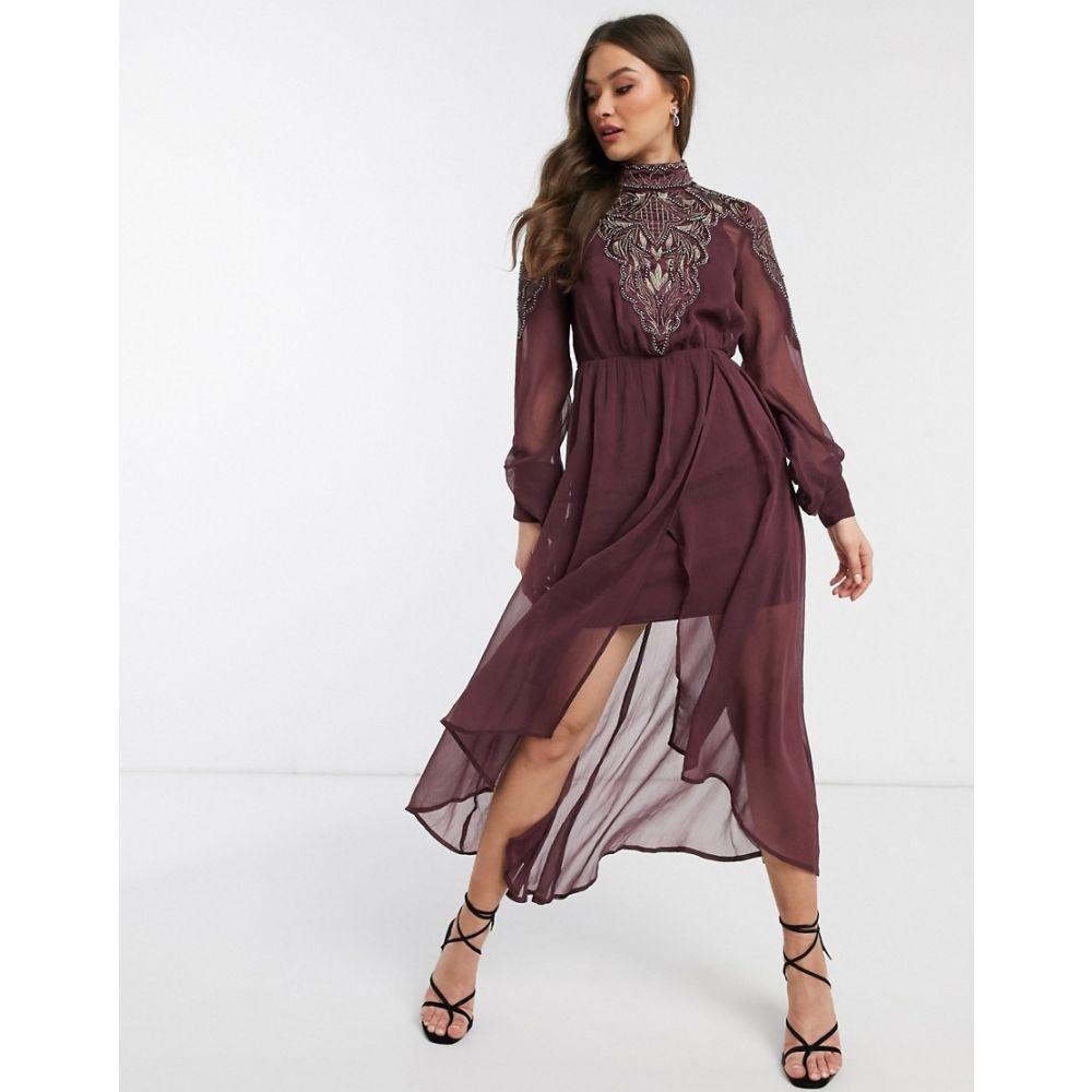 エイソス ASOS DESIGN レディース ワンピース ミドル丈 ワンピース・ドレス【embroidered yoke midi dress】Burgundy