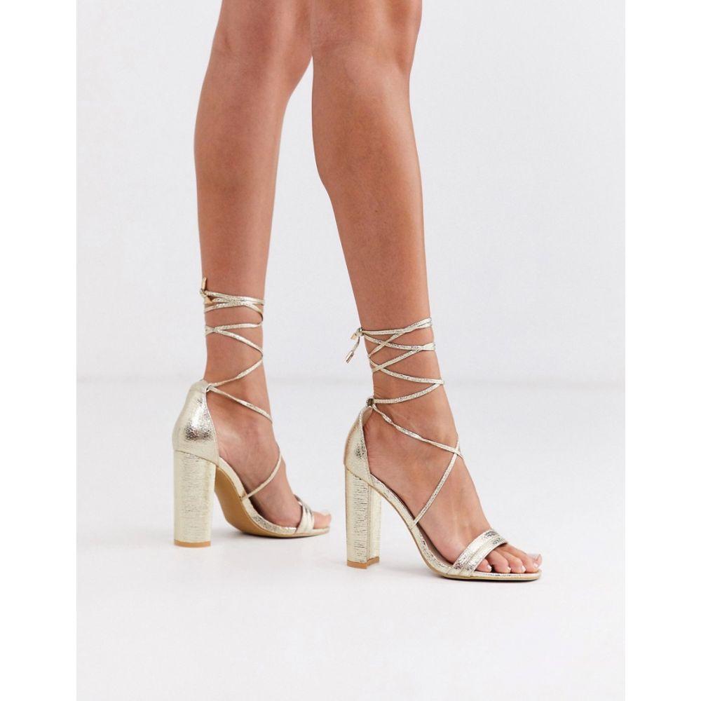グラマラス Glamorous レディース サンダル・ミュール シューズ・靴【gold block heeled sandals with ankle tie】Gold