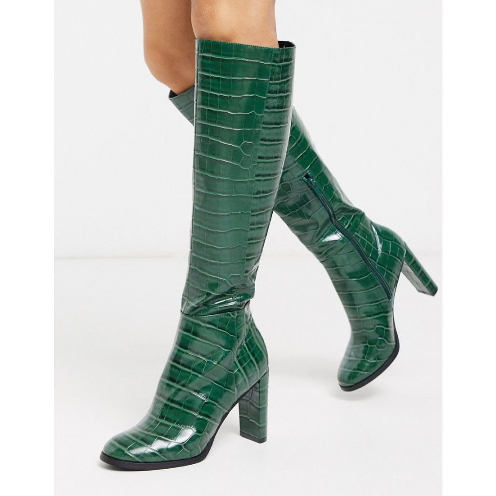 エイソス ASOS DESIGN レディース ブーツ シューズ・靴【Cooper knee high boots in green croc】Green croc
