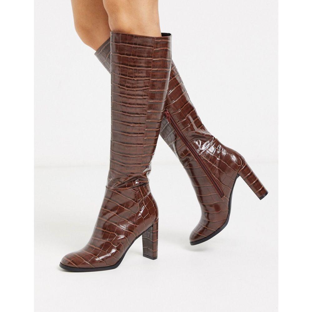 エイソス ASOS DESIGN レディース ブーツ シューズ・靴【Cooper knee high boots in brown croc】Brown croc