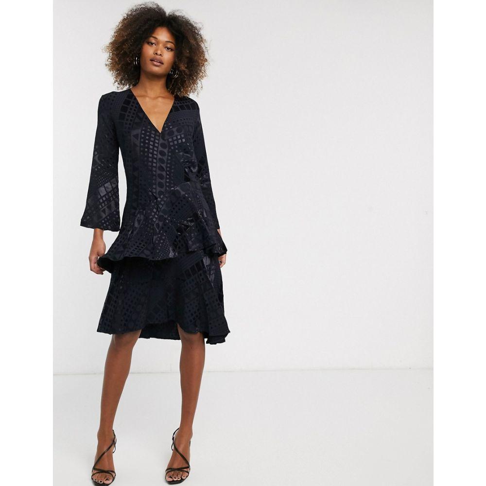 クローゼットロンドン Closet London レディース ワンピース Vネック ワンピース・ドレス【Closet v-neck ruffle dress】Navy