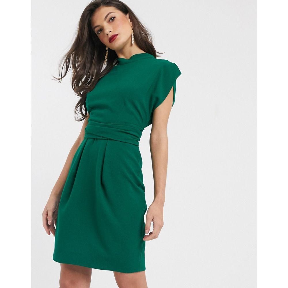 クローゼットロンドン Closet London レディース ワンピース ミニ丈 ワンピース・ドレス【tie back mini dress in emerald green】Green