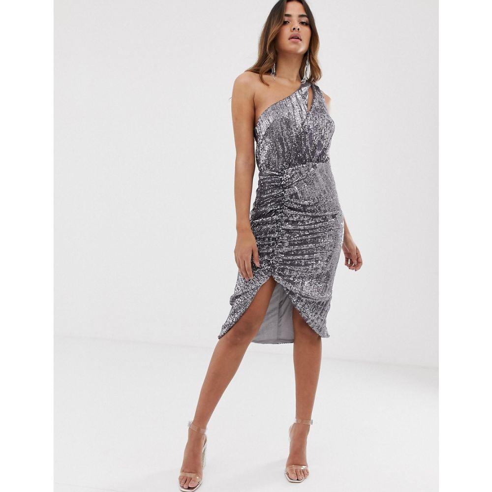ラヴィッシュアリス Lavish Alice レディース ワンピース ワンピース・ドレス【sequin one shoulder cut out midi dress in grey】Grey