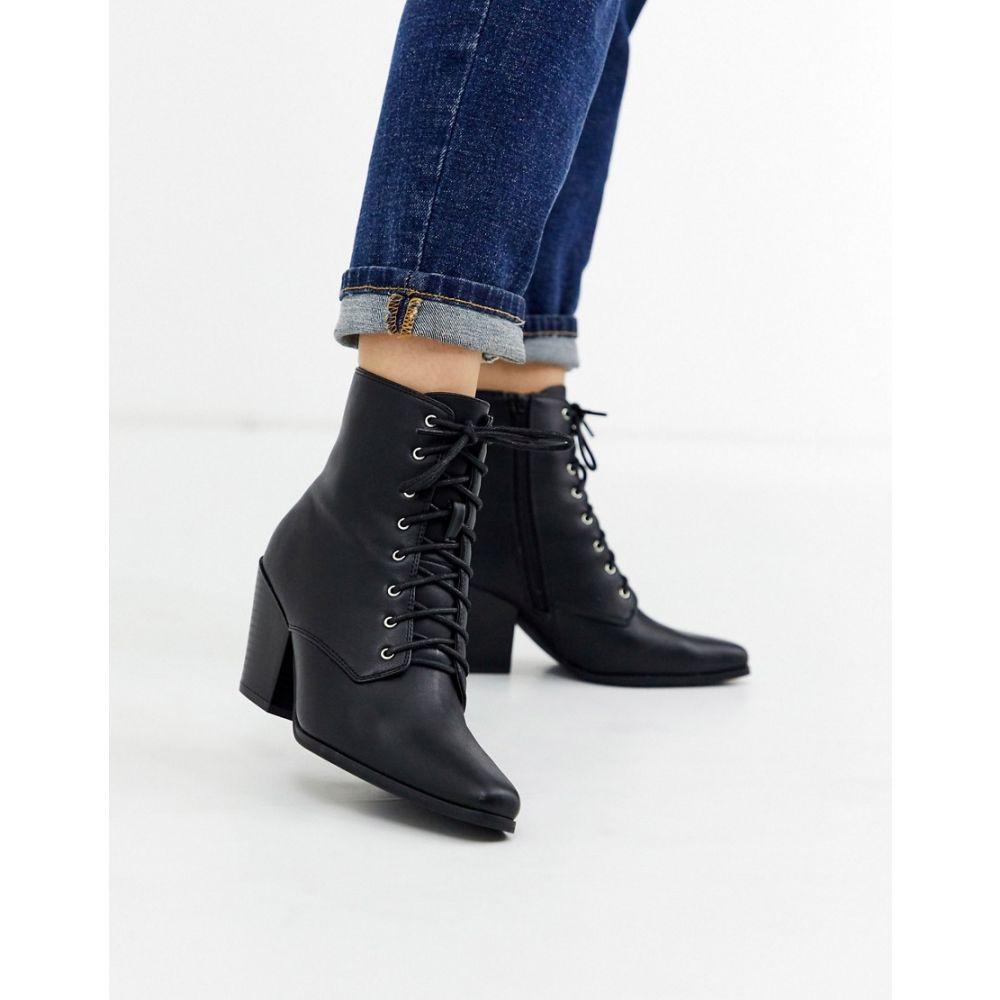ロンドン レーベル London Rebel レディース ブーツ ウェスタンブーツ シューズ・靴【heeled western boots in black】Black white stitch