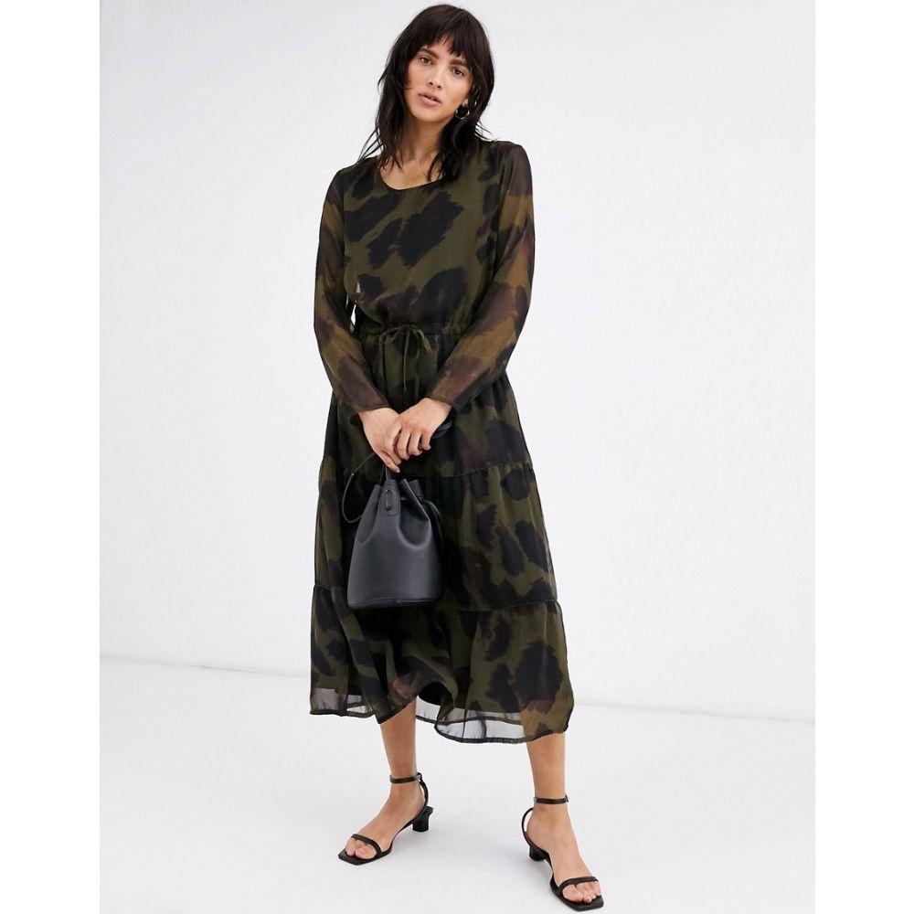 イチ Ichi レディース ワンピース ミドル丈 ワンピース・ドレス【leopard print midi dress】Dark olive