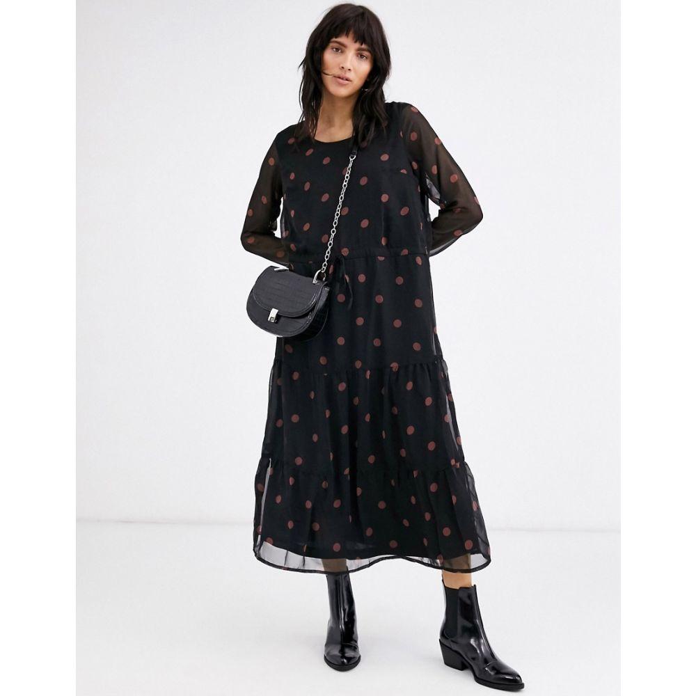 イチ Ichi レディース ワンピース ミドル丈 ワンピース・ドレス【polka dot midi dress】Black