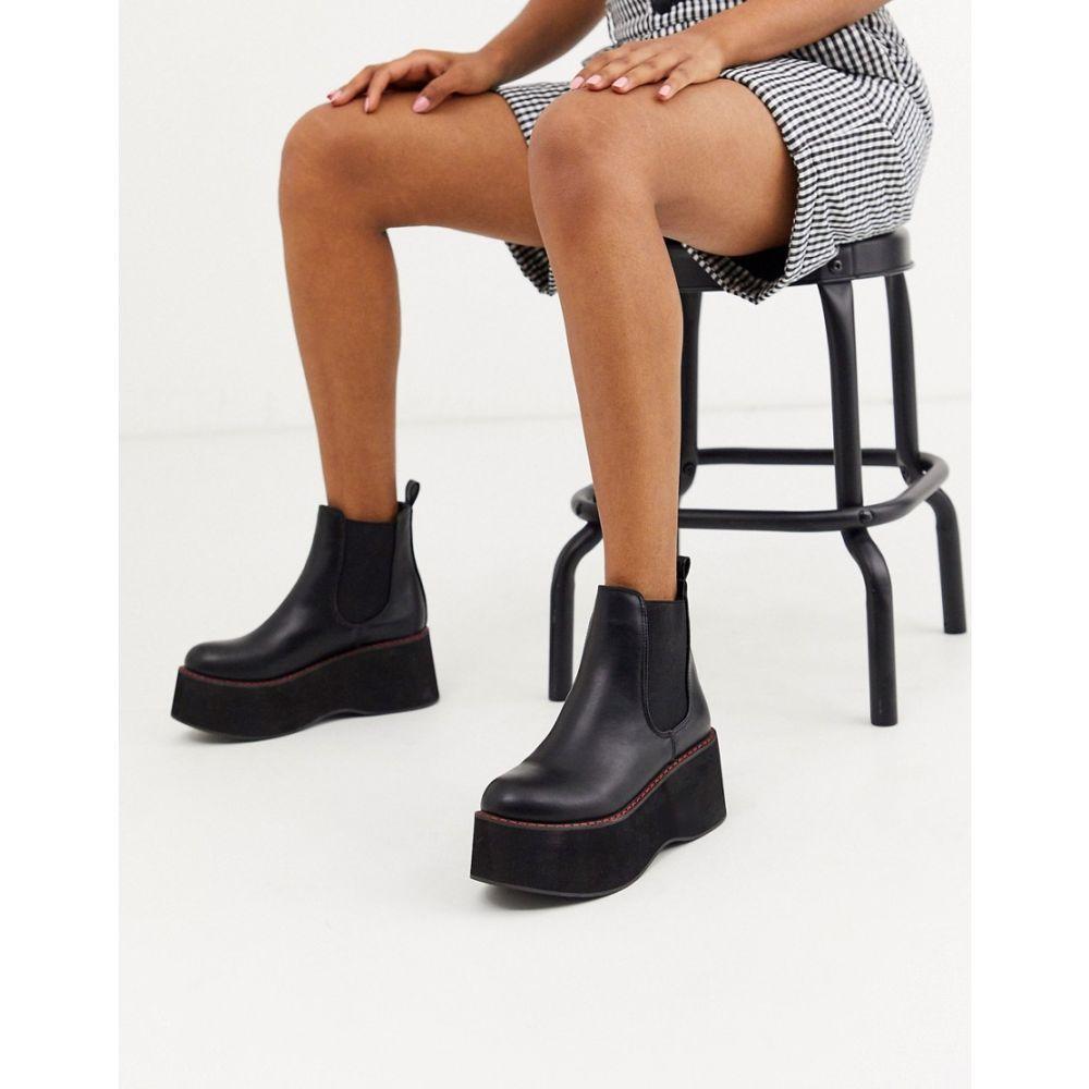 コイフットウェア Koi Footwear レディース ブーツ ショートブーツ シューズ・靴【Koi vegan extreme platform ankle boots in black with red stitching】Black
