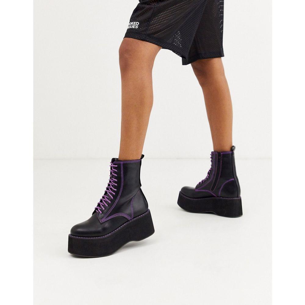 コイフットウェア Koi Footwear レディース ブーツ ショートブーツ レースアップブーツ シューズ・靴【Koi vegan purple lace up platform ankle boots in black】Black