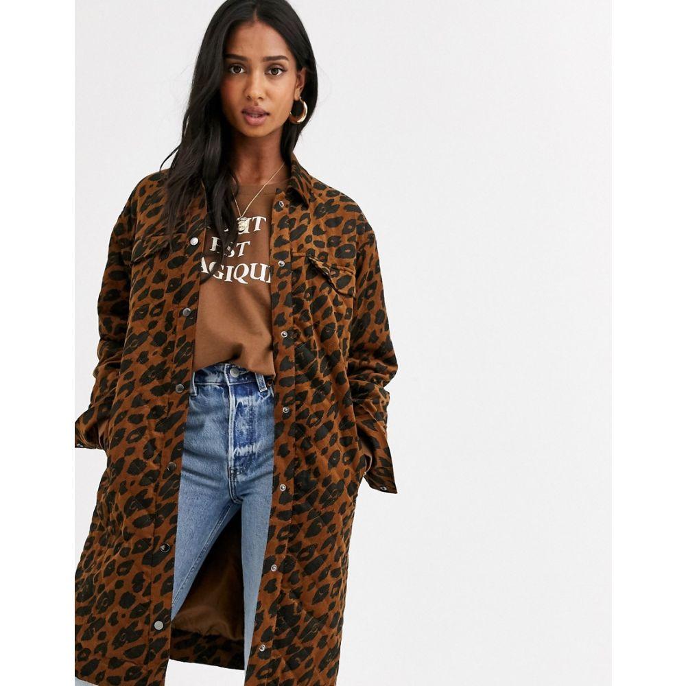 イチ Ichi レディース コート ロングコート アウター【leopard print cord longline coat】Emperador