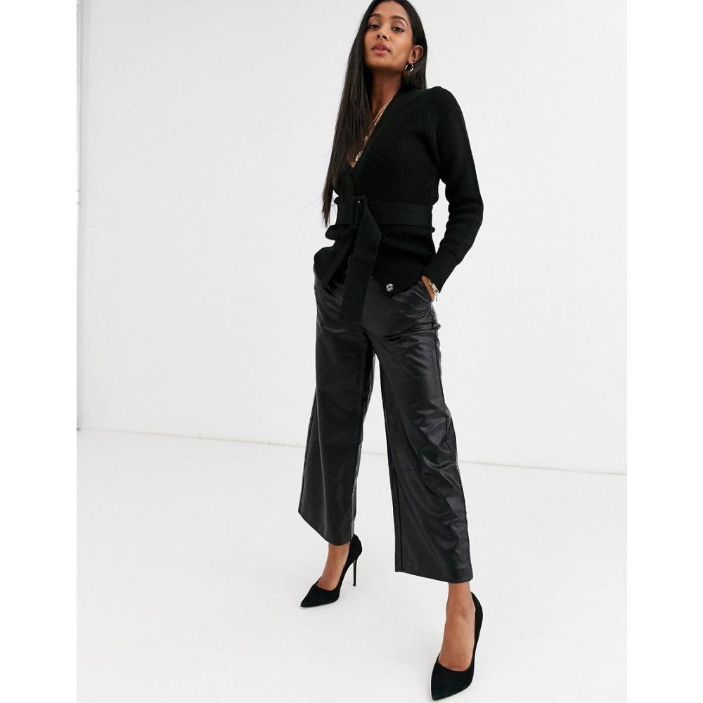 イチ Ichi レディース クロップド ボトムス・パンツ【embossed snake faux leather cropped trousers】Black
