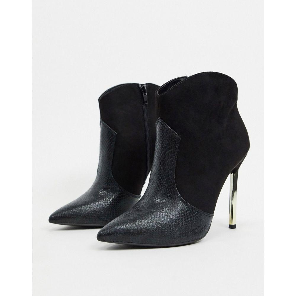 ロンドン レーベル London Rebel レディース ブーツ ウエスタンブーツ シューズ・靴【western stilletto heeled boot in black】Black micro/snak