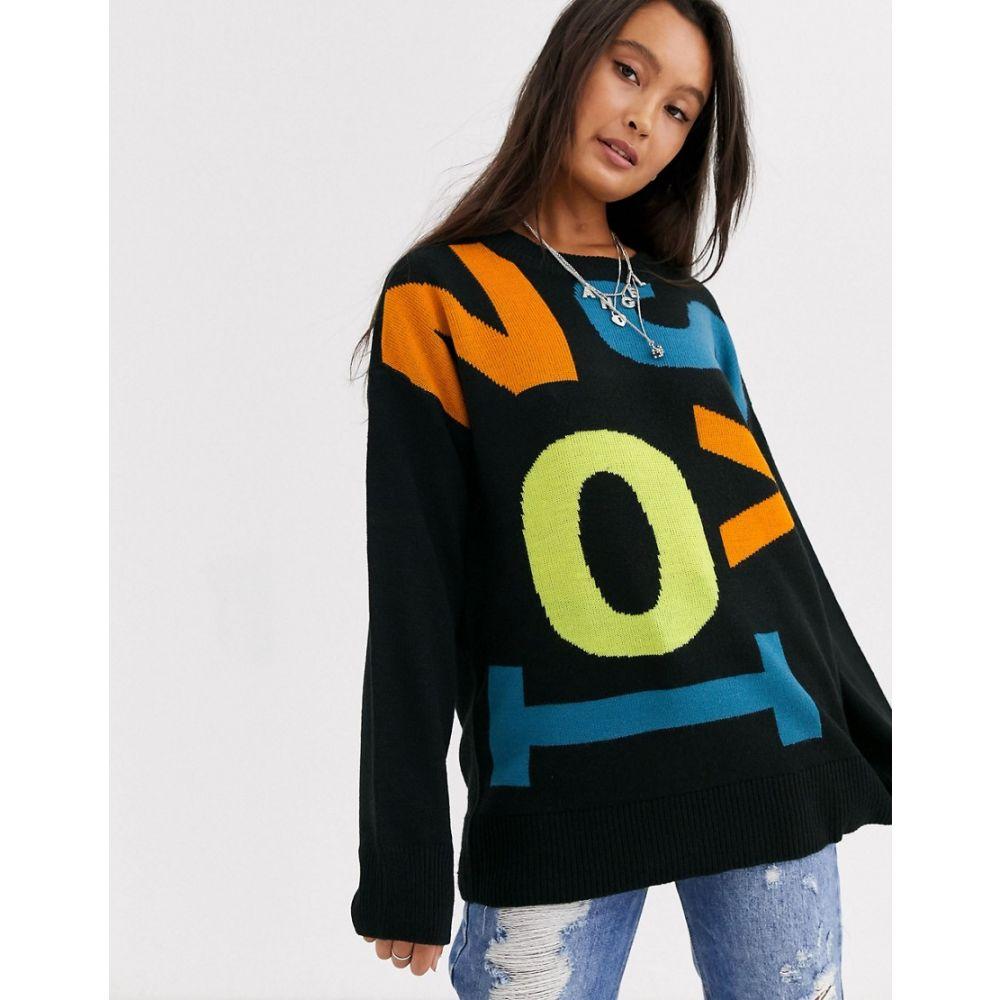 ノイズィーメイ Noisy May レディース ニット・セーター トップス【oversized jumper with contrast letters in blackmulti】Black w. multi